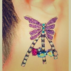 New Betsey Johnson Butterfly Front  Back Earrings